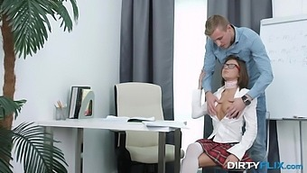 Nerdy Coed In Glasses Sandra Wellness Gets Facial After Steamy Pussy Pounding