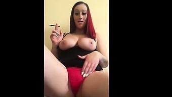 Busty Redhead Smoking Selfie Tease