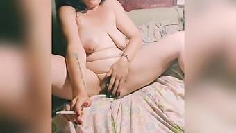 Chubby Slut Has Intense Smoking Orgasm With Toy