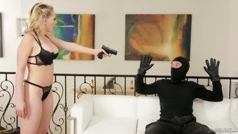 Sex-Hungry Homemaker Kagney Linn Karter Gets Her Muff Fucked By One Robber In Face Mask
