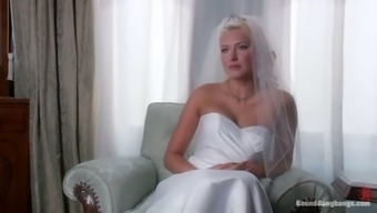 Blonde Love In Wedding Gown Get Involved And Gangbanged
