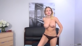 Kagney Linn Karter Toying Her Twat While Porno Dan Is Fucking Her Butt