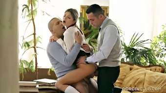 Double Pepping Up Her Moist Teen Fuck Openings In A Threesome