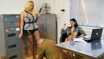 Beautiful Bosses Turn Place Of Work Perv Into Nylon Foot Devotion Slave