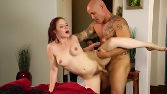 Redhead Fucked Upon The Massage Session Table By The Muscle Mass Stud
